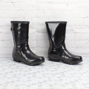 LL Bean Wellies Mid-Calf Gloss Rain Boots Size 8 M